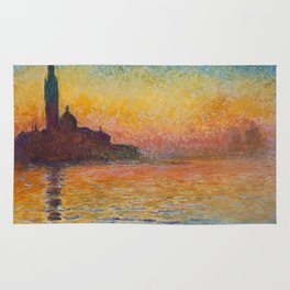San Giorgio Maggiore at Dusk Painting by Claude Monet Rug