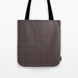 White and red on black pattern Tote Bag