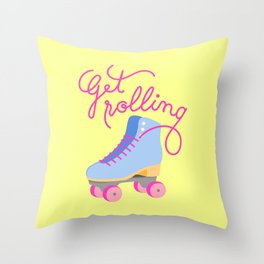 Get Rolling (Yellow Background) Throw Pillow