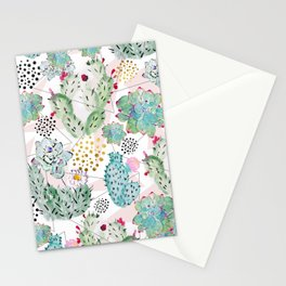 Modern triangles and hand paint cactus pattern Stationery Cards
