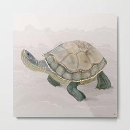 Green Turtle on the Beach Metal Print