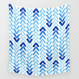 Blue Watercolour Arrows Wall Tapestry