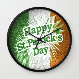 Happy St. Patricks Day Grunge Style Design Wall Clock