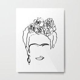 Frida Kahlo line art, Frida Kahlo Print,Frida Art, naked smoking lady art, mid century wall art ,Fri Metal Print