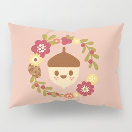 Acorn and Flowers / Blush Pink Pillow Sham
