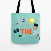 old school Tote Bags featuring OLD SCHOOL!  by Claudia Ramos Designs