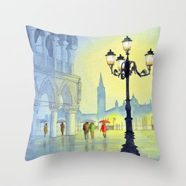 Rainy Evening In St Marks Square Venice Throw Pillow