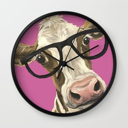 Pink Cow with glasses art, Cute Cow With Glasses Wall Clock