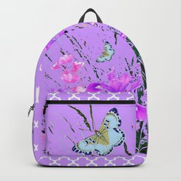 LILAC PURPLE MODERN FLOWERS ABSTRACT Backpack