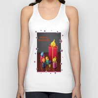 gift card Tank Tops featuring Merry Christmas Gift Boxes Holiday Card  by taiche