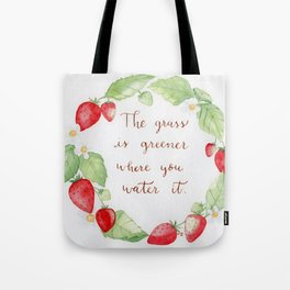 Strawberry Watercolor wreath with a positive hand lettered quote Tote Bag