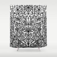 matrix Shower Curtains featuring triangular matrix by westchestrian_art