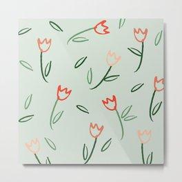 Plants and Petals in vert Metal Print