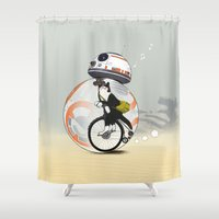 brad pitt Shower Curtains featuring CAT INSIDE DROID by Tummeow