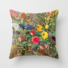 Birds Insects Plants Throw Pillow