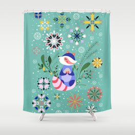 Happy Raccoon Card Shower Curtain