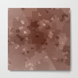 Cognac Square Pixel Color Accent Metal Print