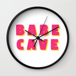 Babe cave - Pink and yellow Wall Clock
