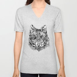 floral animals -black and white wolf Unisex V-Neck