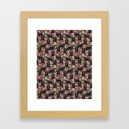 Cavalier King Charles Spaniel back and tan coat floral pattern dog breed gifts Framed Art Print