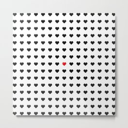 Digital 8-Bit Hearts Pattern Metal Print