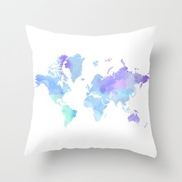 BLUE WATERCOLOR TRAVEL MAP Throw Pillow