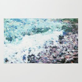 Waves lap at the shore - painting - art gift - abstract Rug