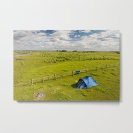 Camping tent and grass expanse Metal Print