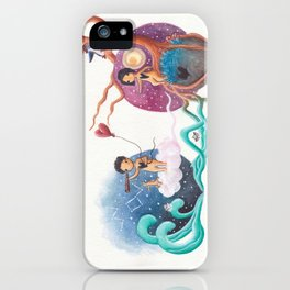Boy on Cloud With Heart Balloon Leaving Girl and Penguin on Her Planet iPhone Case