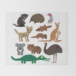 Animals Australia: Echidna Platypus ostrich Emu Tasmanian devil Cockatoo parrot Wombat crocodile Throw Blanket