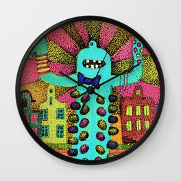 Cute monster in Amsterdam Wall Clock