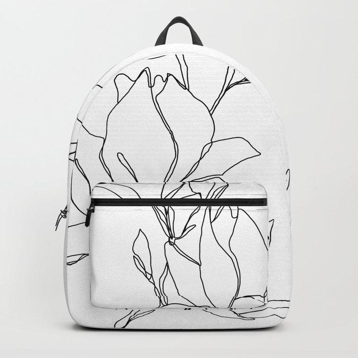 Botanical illustration line drawing - Magnolia Rucksack
