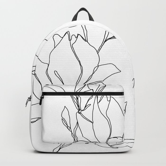 Botanical illustration line drawing - Magnolia Rucksack