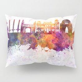 Karachi skyline in watercolor background Pillow Sham