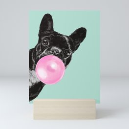 Bubble Gum Sneaky French Bulldog in Green Mini Art Print