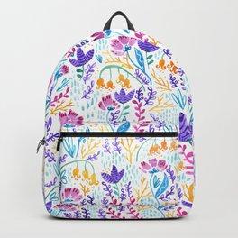 Wonderland Flower Pattern - White Background Backpack