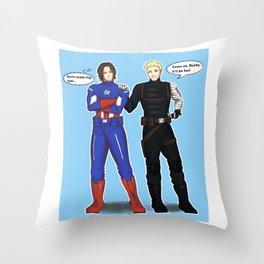 Steve/Bucky Costume switch up Throw Pillow