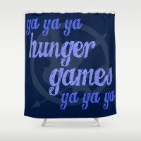 lorde Shower Curtains featuring Ya Ya Ya Hunger Ya Ya Ya Games - Blue by Hrern1313