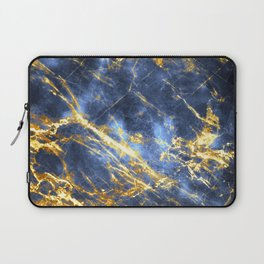 Ornate, Classic Gold and Sapphire Marble Laptop Sleeve