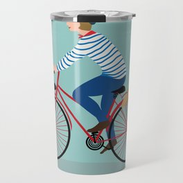Vintage Style Frenchman on a Bicycle with Baguette Art Print Travel Mug