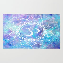 Om Mandala Pink Aqua Lavender Galaxy Space Rug
