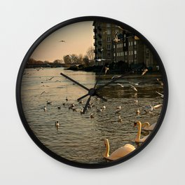 Flocks of Birds on an English River in Spring Wall Clock