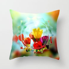 Tulips in the sunshine Throw Pillow