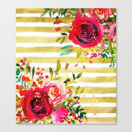 Flowers & Stripes 2 Canvas Print