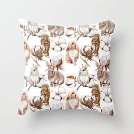 Cotton Flower & Rabbit Pattern 02 Throw Pillow