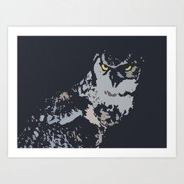 Bold Eagle Owl, Bird Of Prey Print Art Print