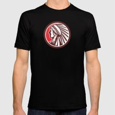 Native American Warrior Chief Circle Black Mens Fitted Tee SMALL