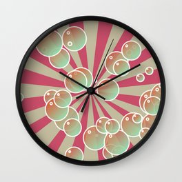 Bubbles on radial background Wall Clock
