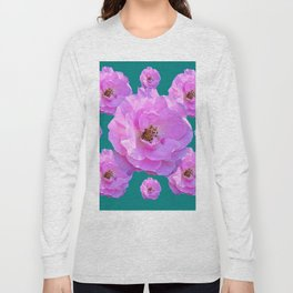 Pink Wild Roses on Teal Color Long Sleeve T-shirt