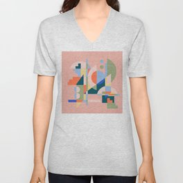 Abstract cityscape in geometric shapes Unisex V-Neck